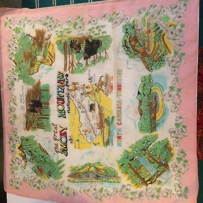 Vintage Great Smoky Mountains National Park Souvenir Dresser Scarf 30""