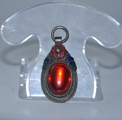 Old china cloisonne Miao silver inlay natural red gem antique pendant gift /Aa01