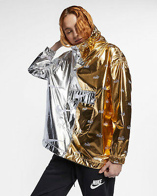 NIKE SPORTSWEAR METALLIC Women's Jacket Lightweight 12 Zip