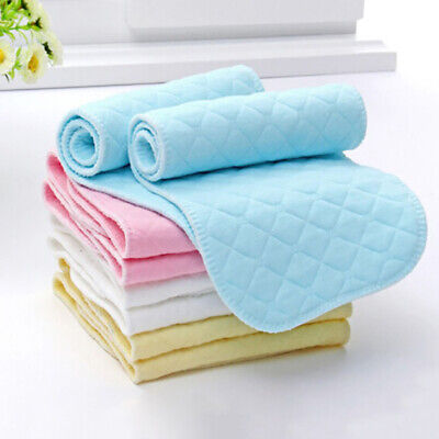 US_ 10Pcs Reusable Baby Cloth Diaper Nappy Liners insert 3 Layers Cotton Fashion