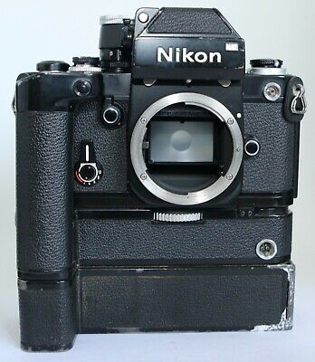 Black Nikon F2 DP-1 DP1 MD-3 MOTOR MB-1 35mm SLR Camera Body AS IS FOR PARTS