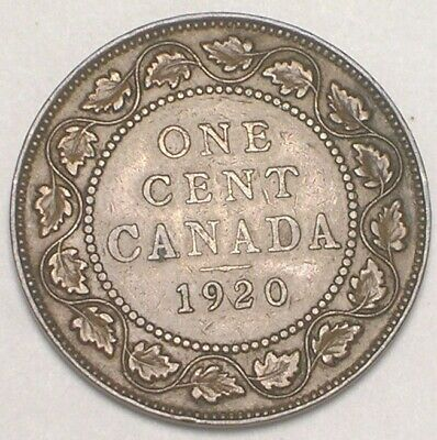 1920 Canada Canadian One 1 Cent King George V Coin VF+