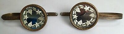 Pair Antique Brass & Etched Mirror Glass Curtain Tie Backs Holder Hooks