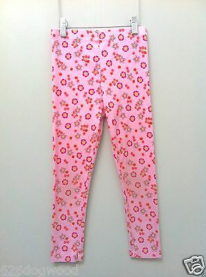 HTF U.S.A Baby Lulu Cosmo Coral Pink Orange Floral Cotton Knit Leggings Girls 6