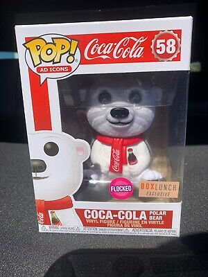 Funko Pop Ad Icons Coca Cola Polar Bear 58 Flocked Boxlunch Exclusive