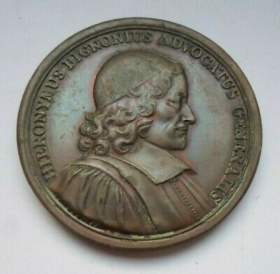 Jerome Bignon French Lawyer King Louis Xiv Era Antique Medal