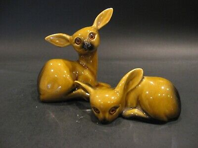 Vintage Roselane Deer Figurine Pair California Art Pottery Adorable!