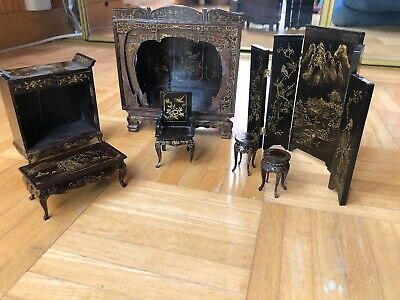 Antique Chinese Laquered Gold Painted Chinoiserie Furniture
