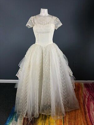 Vintage 50s Wedding Dress Gown Tulle Lace Cupcake Womens XS/XXS 1950s Bridal