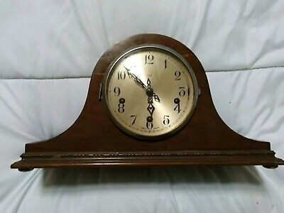 Antique Enfield Napoleon Hat Westminster Chiming Oak Mantel Clock - For Repair