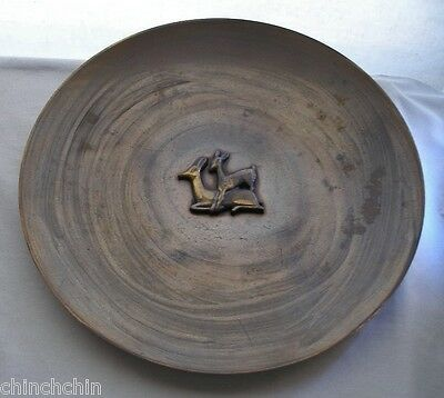 VERY WORN Signed NORDISK MALM CHRISTIAN DENMARK Brass or Bronze BIG Platter DEER