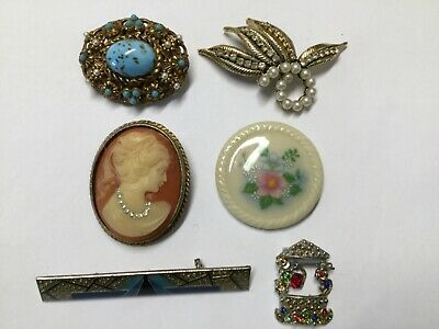 Vintage Art Deco Victorian Style Pin Brooch Lot Of 6 Costume Jewelry Cameo Glass