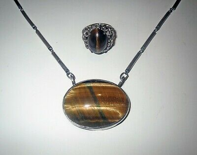 Antique Jewelry Lot MEXICAN STERLING SILVER TIGER EYE NECKLACE - ANTONIO PINEDA