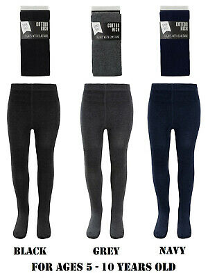 Girls Cotton Rich School Tights Socks Footed Plain Grey Black Navy Ages 5-10 Yrs