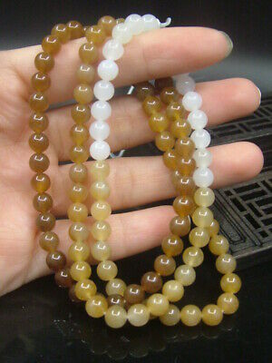 Antique Chinese Nephrite Celadon-HETIAN- White Jade 6mm Beads Necklace Pendant
