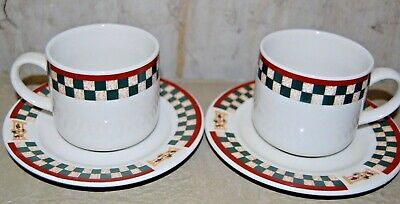 2  Betty Crocker Stoneware Country Inn Collection Coffee Mugs Tea Cups & Saucers