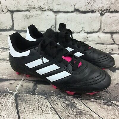 Adidas Girls Sz 4 Shoes Black Pink Classic 3-Stripe Lace-Up Soccer Cleats