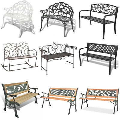 Garden Metal Bench Seat Outdoor Seating Decorative Cast Iron Park Patio Chairs