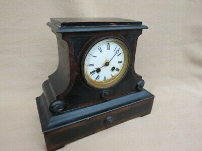 Antique French Japy Ebonised Walnut Bell Strike Mantel Clock For Repair