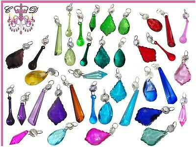 Colourful Glass Crystals Beads Chandelier Lamp Light Parts Prisms Drops Rainbows