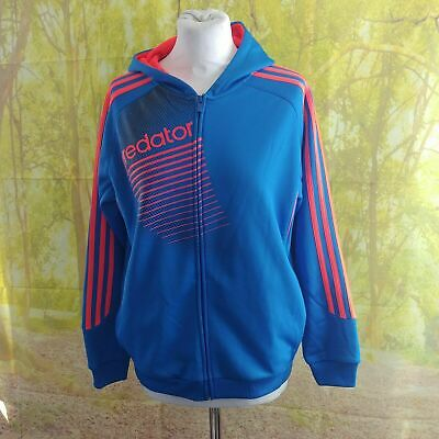 """adidas Predator Blue Track Hooded Jacket, 21"""" pit to pit, 22"""" length, Age 14"""