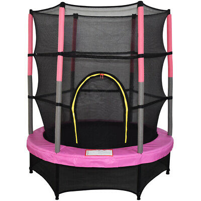 "4.5FT Mini Trampoline Set with Enclosure Safety Net Outdoor 55"" Kids Toy Pink"