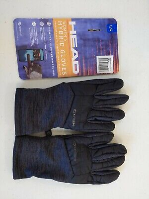HEAD: Women's Hybrid Gloves Black Large Warmer NEW Touchscreen Compatible