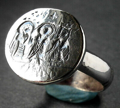 RARE GENUINE SILVER BYZANTINE RING - wearable - circa 6th/8th cent AD
