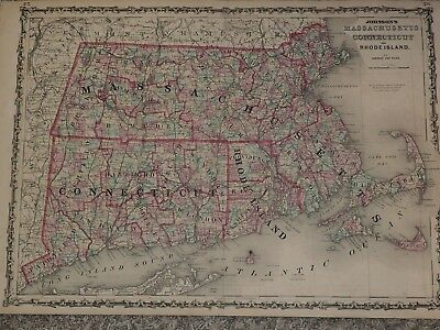"1863 Johnson's MASSACHUSETTS CONNECTICUT and RHODE ISLAND 18"" x 26"""