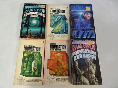 BIG Lot of (6) ISAAC ASIMOV Vintage Sci Fi Books FOUNDATION SERIES NEAR COMPLETE