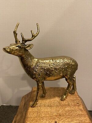 """Solid Brass Stag Buck Deer Dotted Figurine Statue Sculpture Vintage 7"""" Tall"""