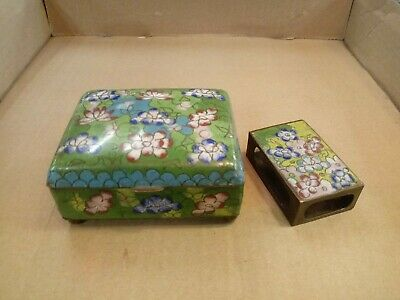 Vintage Chinese Cloisonne Brass Enamel Flower Trinket Box W/ Matchbox Case