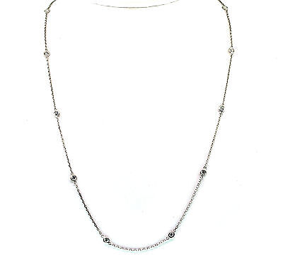 "0.66 Ct Natural Diamond By The Yard Vs1/F Necklace 18"" 14K White Gold"