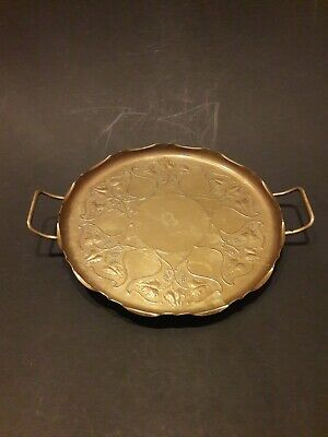 A JS&S Joseph Sankey & Sons Arts & Crafts Grapevine pattern Brass Serving Tray