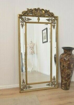 ANTIQUED Ornate French Reproduction Tall Gold Gilt Crest Mirror WALL MIRROR LEAN
