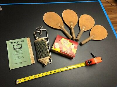Vintage 1931 Table Tennis Set Ping Pong Booklet Balls Paddles Net