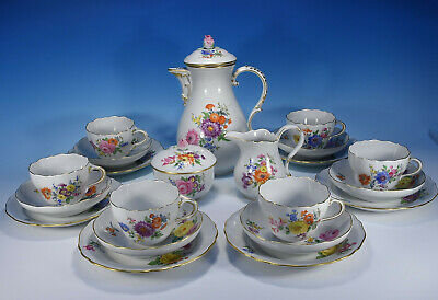 "Meissen "" Flower Bouquet "" Coffee Service for 6 People 1.Wahl"