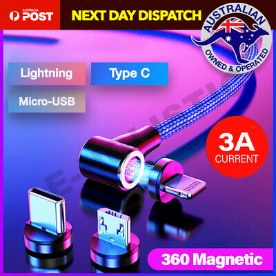 360° Magnetic Lightning Cable/Micro/Type C to USB Fast Charging Charger 1M 2M AU