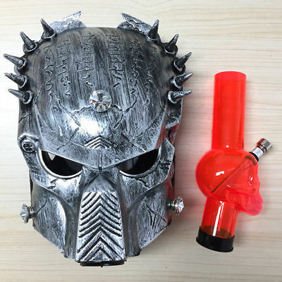 Silver Predator Hookahs Silicone Gas Mask Smoking with Acrylic Water Pipe Bong