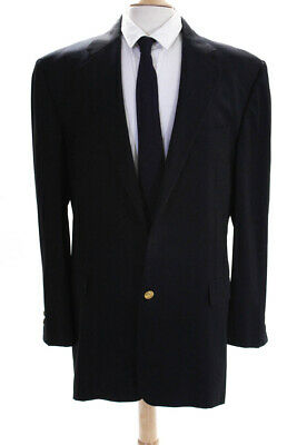 Hickey Freeman Mens Two Button Notched Lapel Blazer Navy Blue Wool Size 46