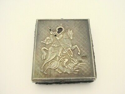 Antique Russian Silver 84 Saint George Travelling Icon