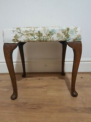 Antique style  piano dressing Foot stool ball feet cabriole legs upholstered