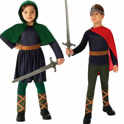 Child Anglo Saxon Costume Grey Girls Book Week Day Fancy Dress Outfit Kids