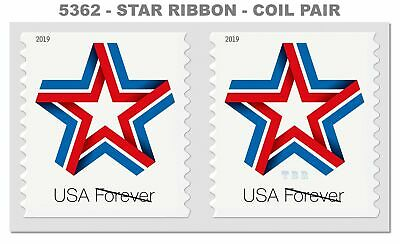 5362 Star Ribbon US Forever Attached Coil Pair Red White Blue 2019 MNH - Buy Now