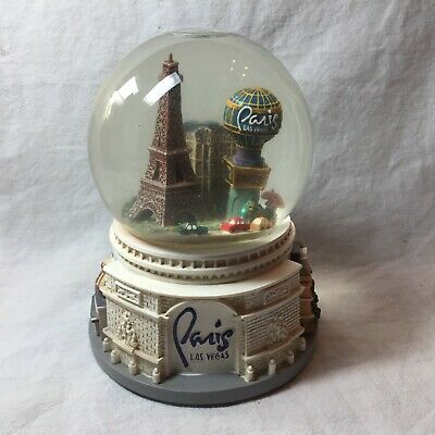 PARIS LAS VEGAS HOTEL CASINO MUSICAL SNOW GLOBE by SANKYO EUC