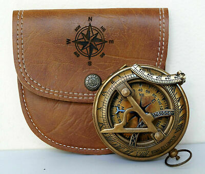 pocket ANTIQUE brass sundial COMPASS with leather case vintage christmas gift