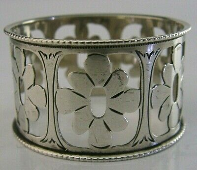 Pretty Arts & Crafts Style Sterling Silver Flower Napkin Ring 1913 Antique