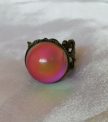 CIRCULAR BRASS MOOD RING - cosmetic flaw - Adult Adjustable - Bronze Coloured