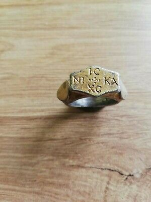 """Massive And Rare Ancient Byzantine Silver Gilt Ring With A Sign ,,Ic Xc Nika"""""""