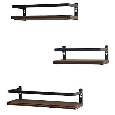 Set of 3 Floating Shelves Rustic Wood Wall Mounted Practical Metal Fence Design